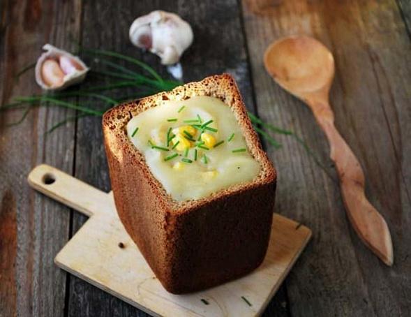 Картофельный суп-пюре вхлебе, rаhnjatkmysq ceg-g.ht d[kt,t