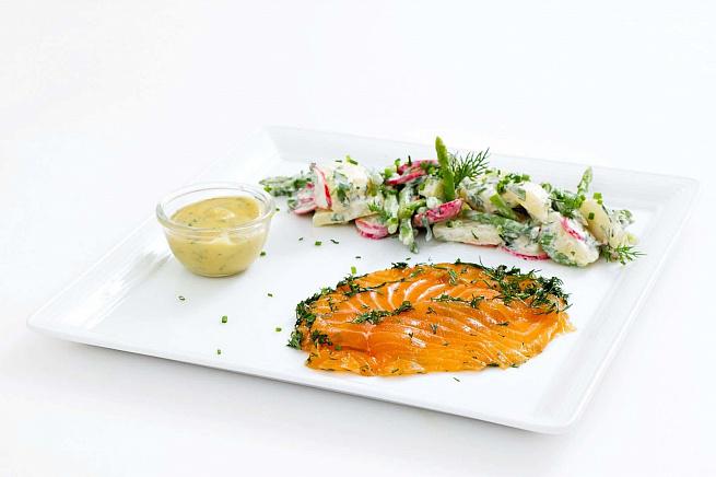 Гравлакс скартофельным салатом, uhаdkаrc crаhnjatkmysv cаkаnjv